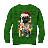 Ugly Christmas Sweater With Pug Lights