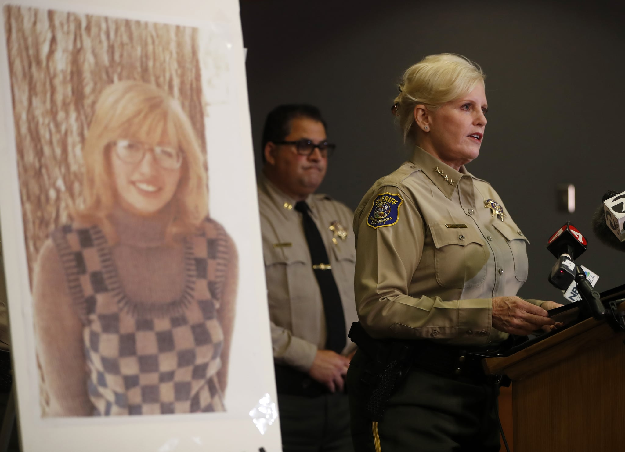 SAN JOSE, CA - JUNE 28: Santa Clara County Sheriff Laurie Smith speaks to the media about the 1974 killing of Arlis Perry at the Sheriff's office in San Jose, Calif., on Thursday, June 28, 2018. (Nhat V. Meyer/Bay Area News Group via Getty Images)