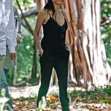 Angelina Jolie trekked through a forest in Hawaii.