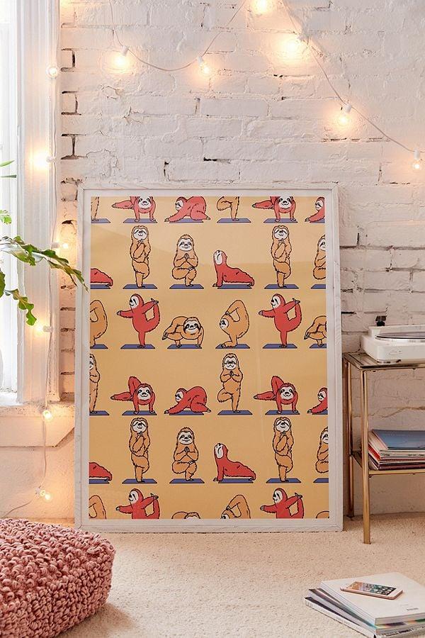 Huebucket Sloth Yoga Art Print Fun Home Decor From Urban