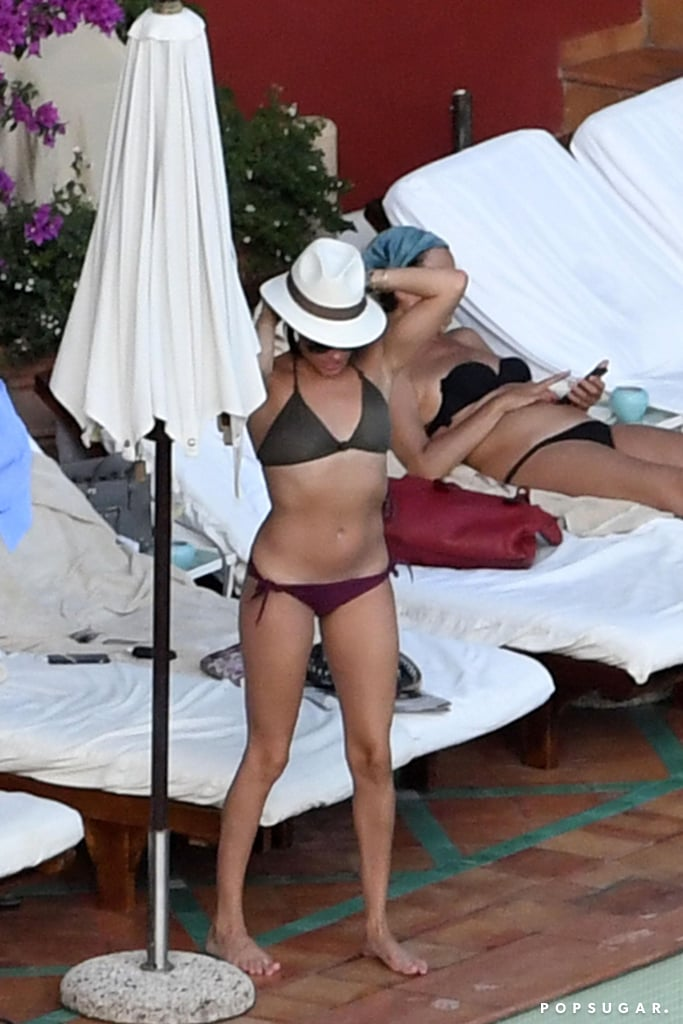 Meghan wore a mismatched bikini while on vacation in Positano, Italy, with friends in August 2016.