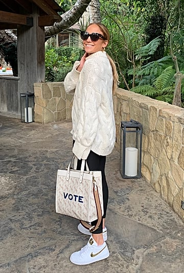 "Jennifer Lopez's Monogrammed Coach Bag Says ""VOTE"""