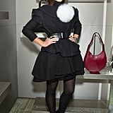 Leave it to Miroslava Duma to dress up her dark Winter style with a large white pom-pom.