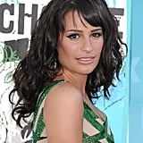 A raven-haired Lea Michele matched her emerald green eyeliner to her dress at the 2010 Teen Choice Awards.