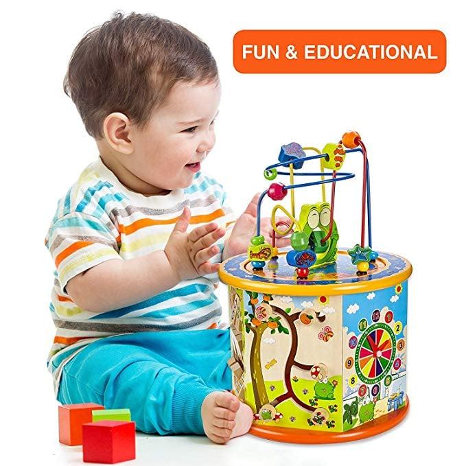 Gleeporte 8 In 1 Wooden Activity Play Cube Best Sensory Toys On