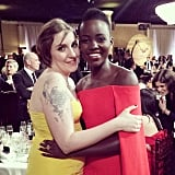 """#GoldenGlobes checklist: hug @lenadunham - CHECK!"" Source: Instagram user lupitanyongo"