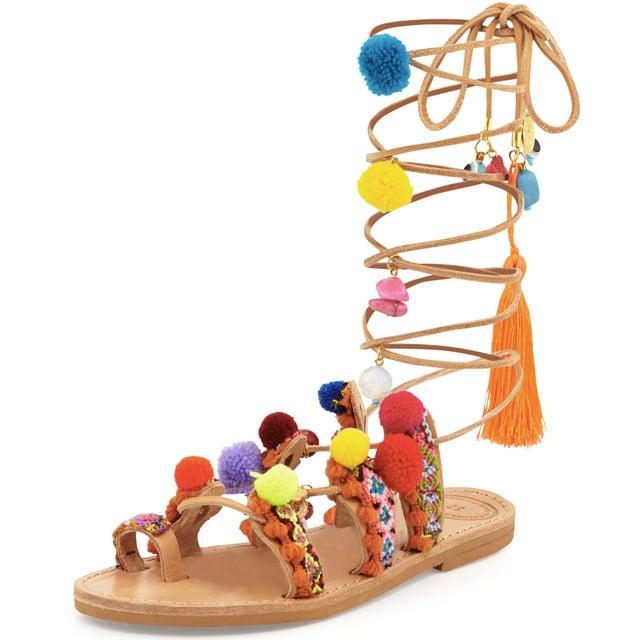 Elina Linardaki 'Penny Lane' Pompom Gladiator Sandal ($225)