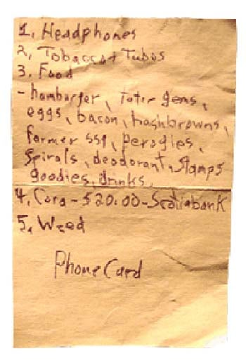 Stoner's Shopping List
