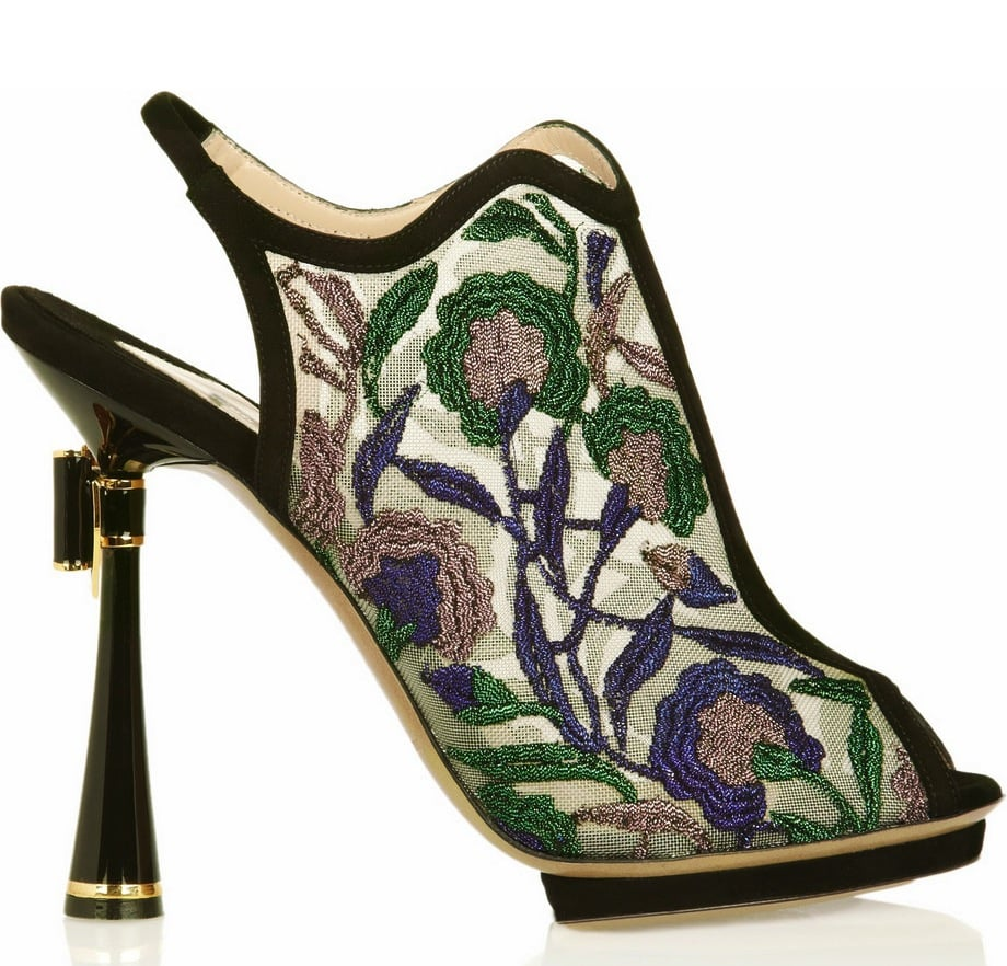 We have to have this sandal — it's gorgeous floral embroidery aside, it'll provide you with some showstopping ensembles. Nicholas Kirkwood Metallic Floral-Embroidered Mesh Sandals ($1,695)