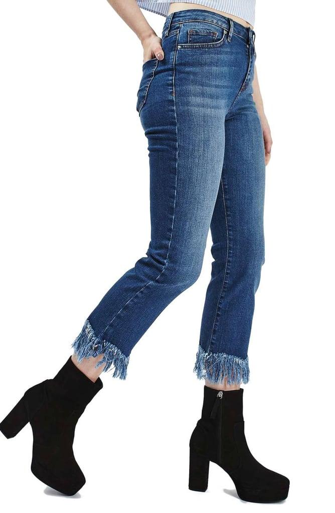 Topshop Fringe Crop Jeans