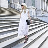 A Lacy White Dress and Strappy Sandals
