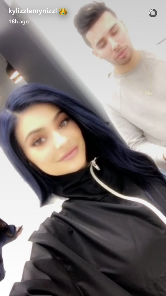 Kylie Jenner Navy Blue Hair February 2017
