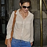 Katie Holmes wore a sheer shirt.