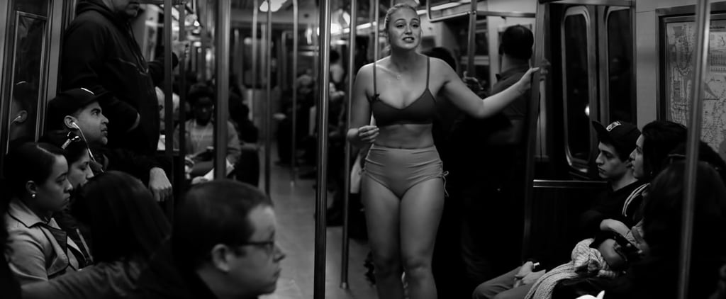 Iskra Lawrence Strips to Her Underwear on a Packed Train to Protest Body Shaming