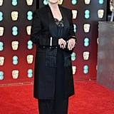 Meryl wore a Givenchy suit with Jimmy Choo shoes to the 2017 EE British Academy Film Awards.
