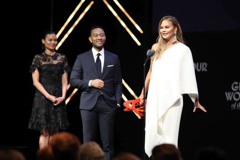 "I've said it once and I'll say it again: find me a love like Chrissy Teigen and John Legend's. The powerhouse couple stepped out on Nov. 12 as Chrissy was honoured at Glamour's Women of the Year Awards, and their night together was truly lovely. John, or ""Chrissy Teigen's trophy husband"" as he calls himself, gave an emotional speech as he presented ""the star of the family"" with her award. The 39-year-old singer praised Chrissy for her honesty, talents, passion, sense of adventure, and her ""big, beautiful heart."" In this age of social media, John believes she shines without a filter thanks to her unapologetic presence. ""I am amazed by the woman that you've become,"" John tenderly told his wife. ""And I'm truly glad that the rest of the world has finally found out about it, too."" Chrissy accepted the award from John, calling him ""the most incredible husband on the planet. She said, ""You are our everything. You completely made me a woman. We've grown together. Our family's grown together. Our careers have grown together... This is so sappy, I'm sorry. I hate you, John. I really do."" Ahead, watch clips of both John and Chrissy's remarks, plus see photos from their night on the red carpet.      Related:                                                                                                           Chrissy Teigen and John Legend's Sexy Date Night Will Make Your Jaw Drop"