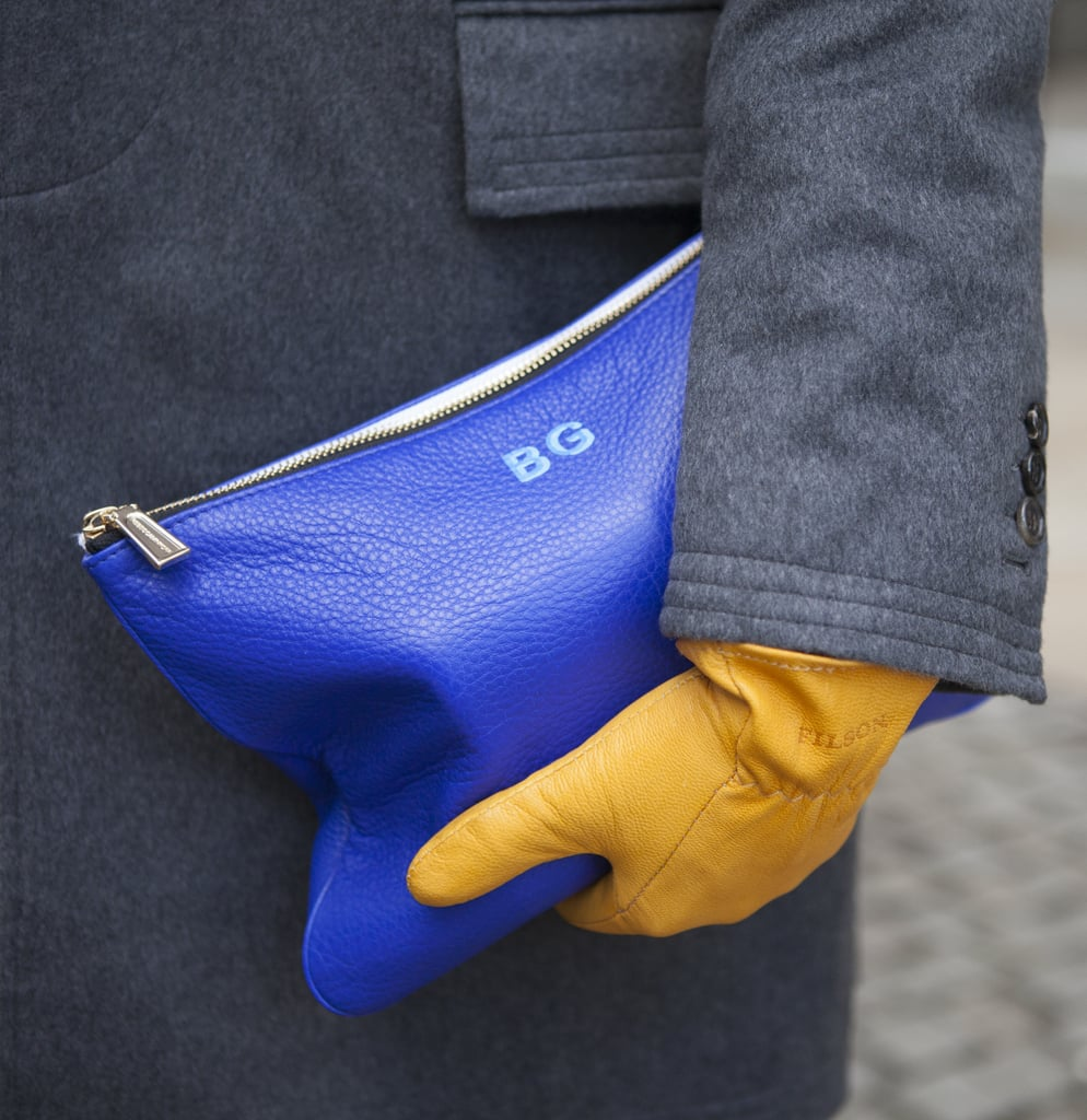 Customized initials gave this cobalt clutch an extraspecial touch.