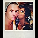 Kaling planted a big kiss on Holm for his last day on set (aww). Source: Instagram user mindykaling