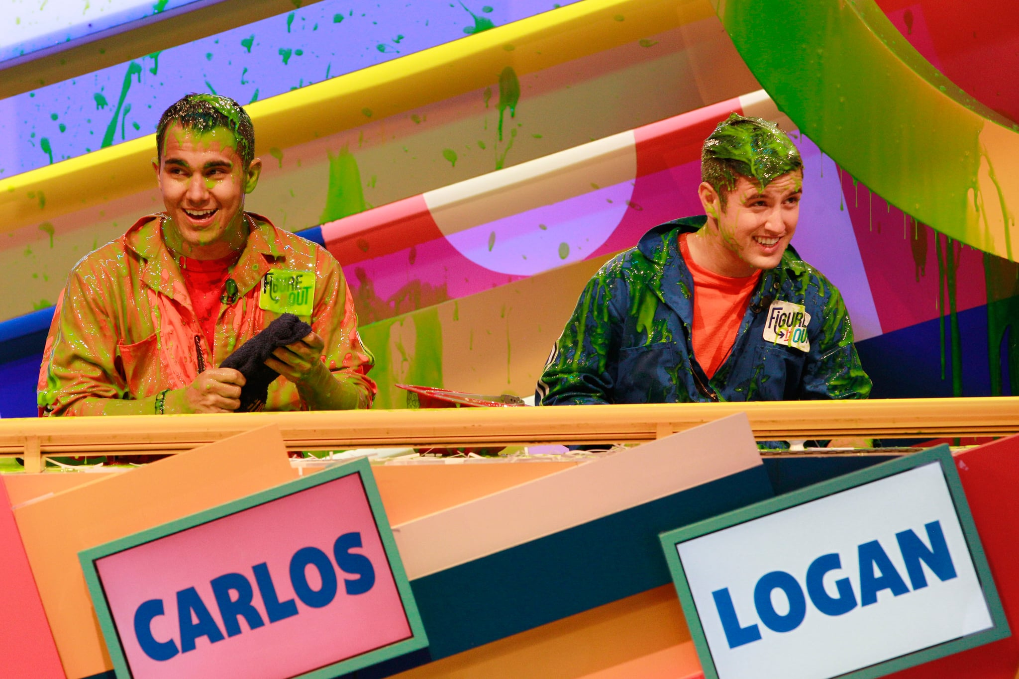 FIGURE IT OUT, (from left): Carlos Pena, Logan Henderson, (Season 5, ep. 534, aired Aug. 1, 2012), 1997-99, 2012-13. photo: Robert Voets /  Nickelodeon / Courtesy: Everett Collection