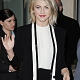 Julianne Hough waved on her way into BBC Radio in London.