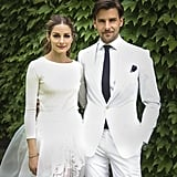 Olivia Palermo created her own relaxed bridal look with three pieces, all from Carolina Herrera: a cashmere sweater and a full tulle skirt layered over a pair of white shorts. Blue Manolo Blahnik heels finished the unexpected, modern look. Source: Olivia Palermo