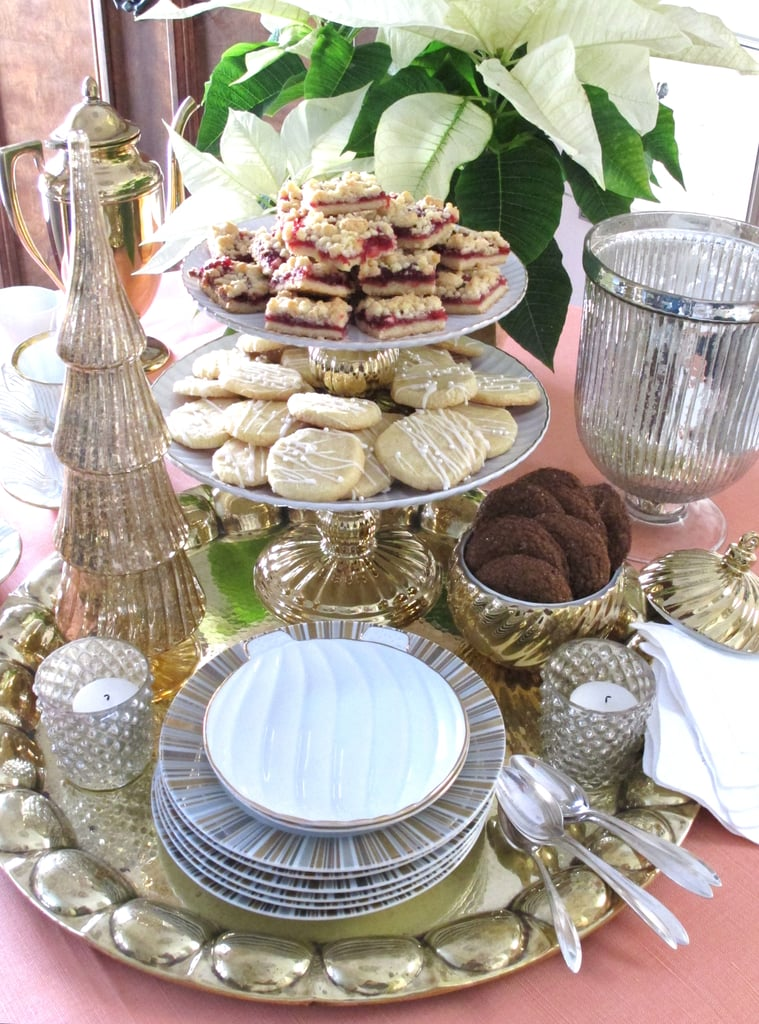 A stand-alone cookie stand gets taken to the next level when it's flanked by glass tree toppers ($18) and served with layers of cranberry streusel shortbread, made extra flavorful with tangerine zest and a sprinkling of cinnamon.