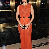 Kate Mara wore an orange gown at the Unicef Snowflake Ball in NYC.