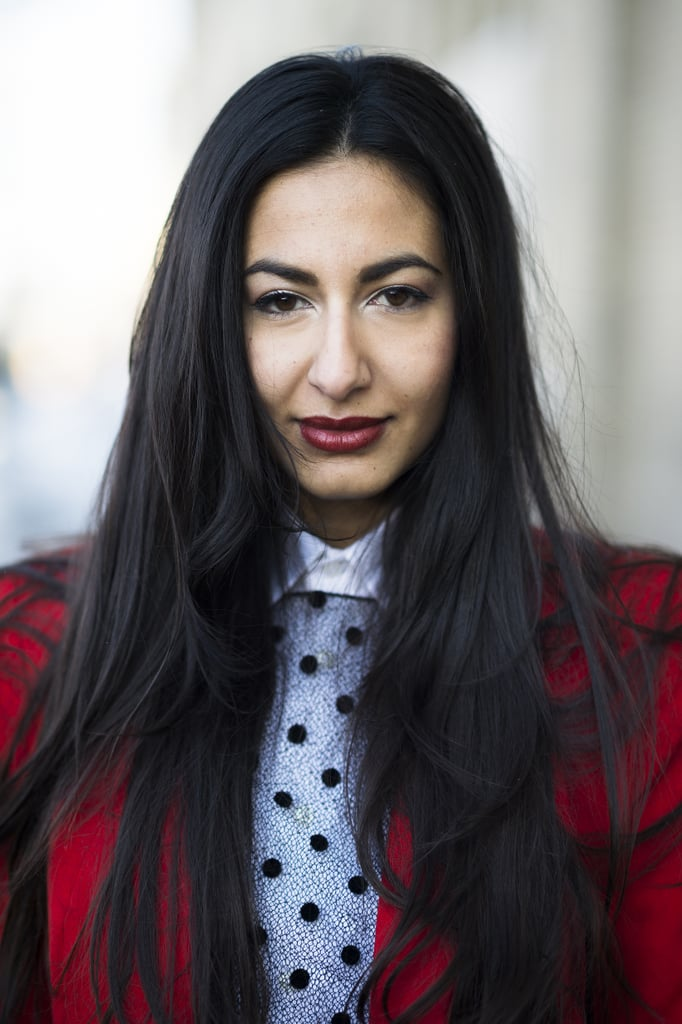 Nausheen Shah coupled a deep red lip with bold brows, giving us a classic look that's always in style. Source: Le 21ème | Adam Katz Sinding