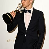 Jim Parsons gave his Emmy a kiss in the press room.
