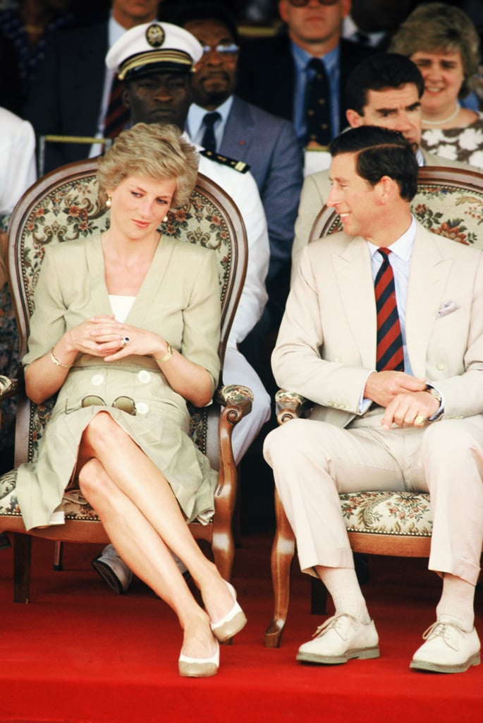 The pair sat side by side during a stop on their royal tour of Cameroon in 1990.