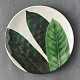 The modern illustration on this Tropical Foliage Melamine Plate ($12) is attention-getting.