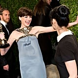 Anne Hathaway couldn't contain her excitement at the Vanity Fair afterparty.