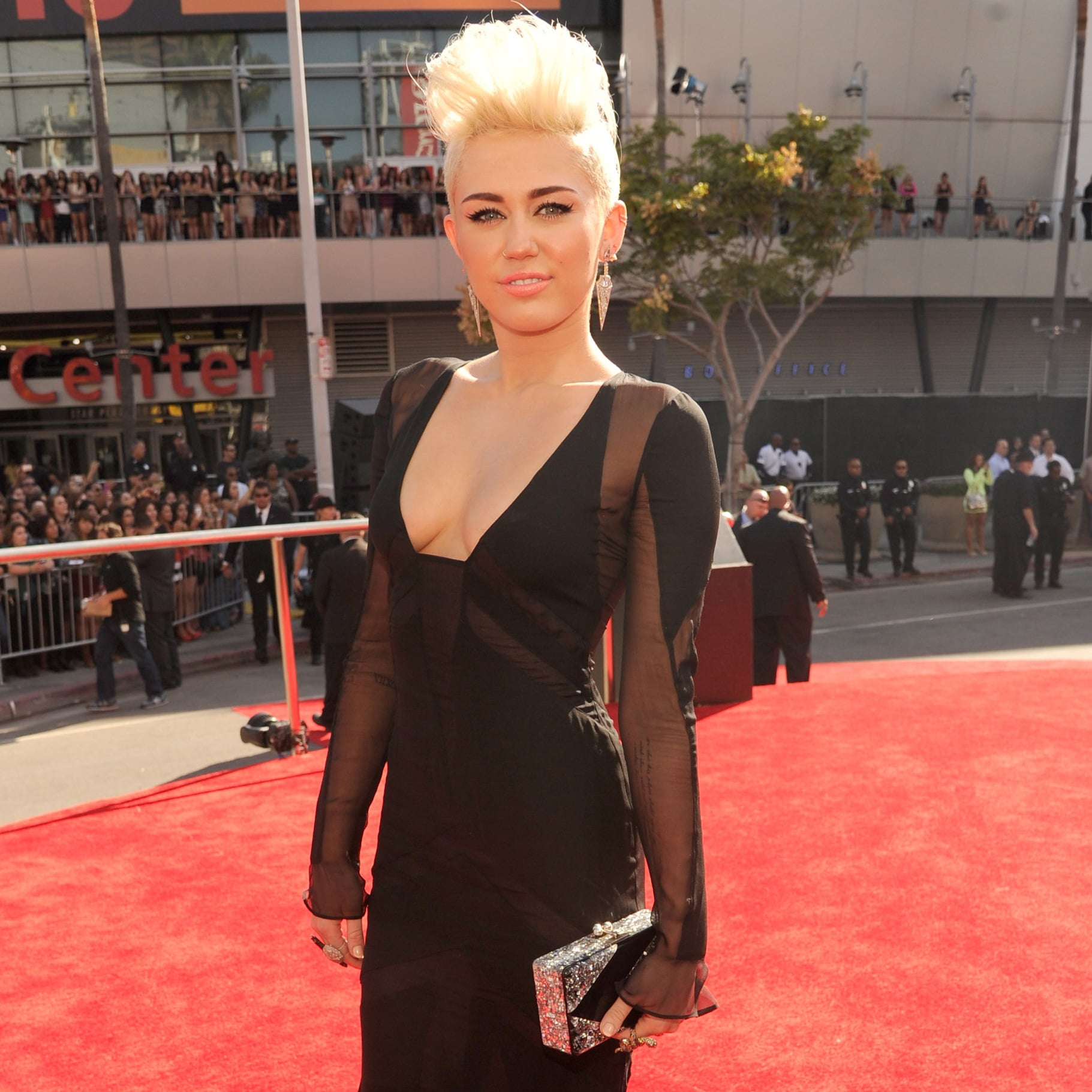 Miley Cyrus in a Black Gown at the MTV VMAs 2012 | POPSUGAR Celebrity