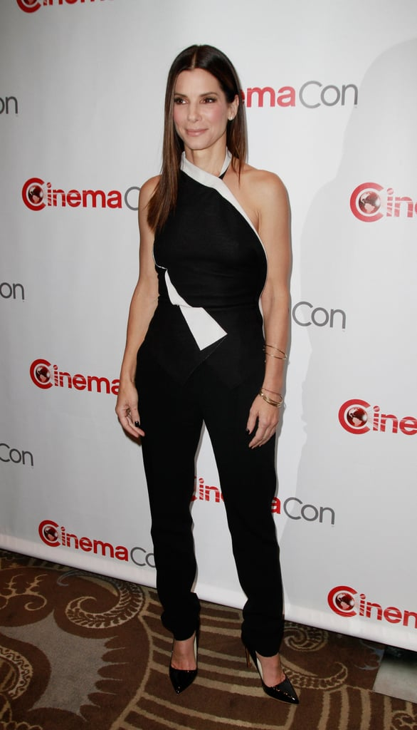 Sandra Bullock wore a black-and-white pantsuit to CinemaCon in Las Vegas on Thursday.
