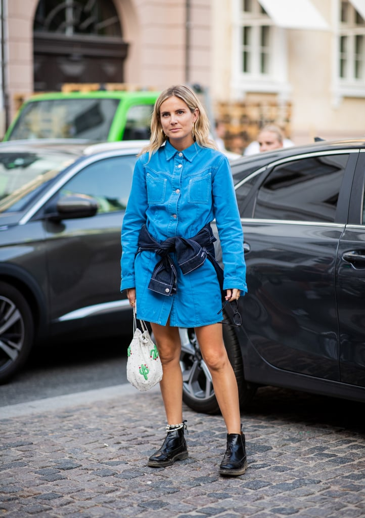 Style a denim minidress with low combat boots.