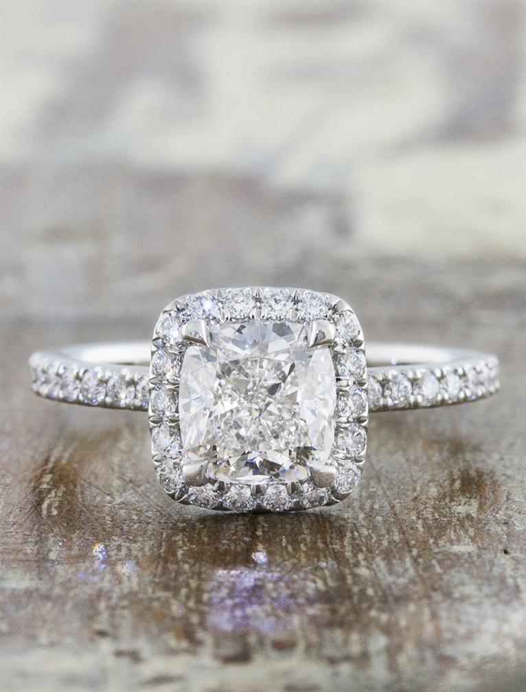Ken & Dana Design Cushion Diamond Halo Engagement Ring