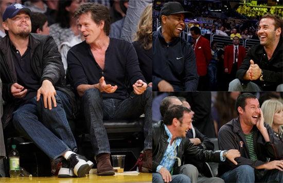 Photos of Leonardo DiCaprio, Kevin Bacon, Jeremy Piven, Denzel Washington, Adam Sandler at Lakers Game