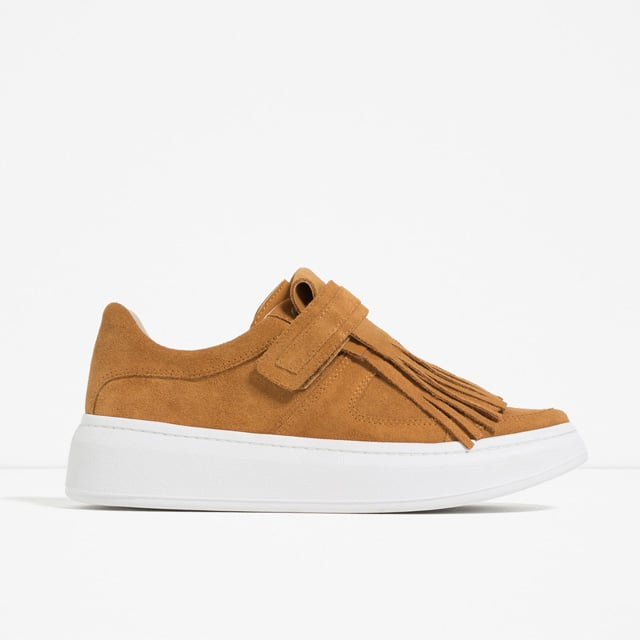 Zara Leather Sneaker with Removable Fringe ($90)