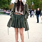 "An oversized fur hood and a flouncy skirt lend glamour. Shop the look: <iframe src=""http://widget.shopstyle.com/widget?pid=uid5121-1693761-41&look=4356737&width=3&height=3&layouttype=0&border=0&footer=0"" frameborder=""0"" height=""244"" scrolling=""no"" width=""286""></iframe> Photo by Phil Oh"
