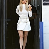 Kylie Jenner Wearing White Skirt and Turtleneck