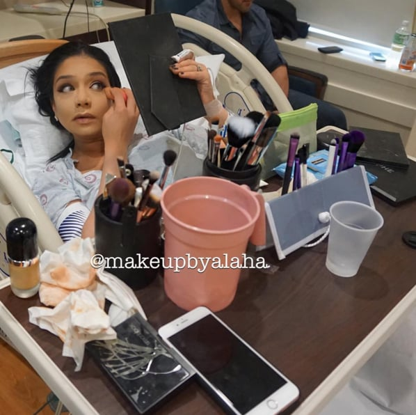 This Woman's Makeup Looks Date-Night Ready, but She's Actually in Labor