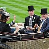 Princess Eugenie, Princess Beatrice, and Prince Andrew, 2013