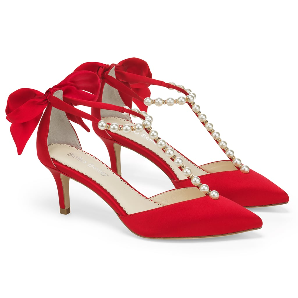 Bella Belle Lisa Red Pearls and Red Bow Kitten Heel