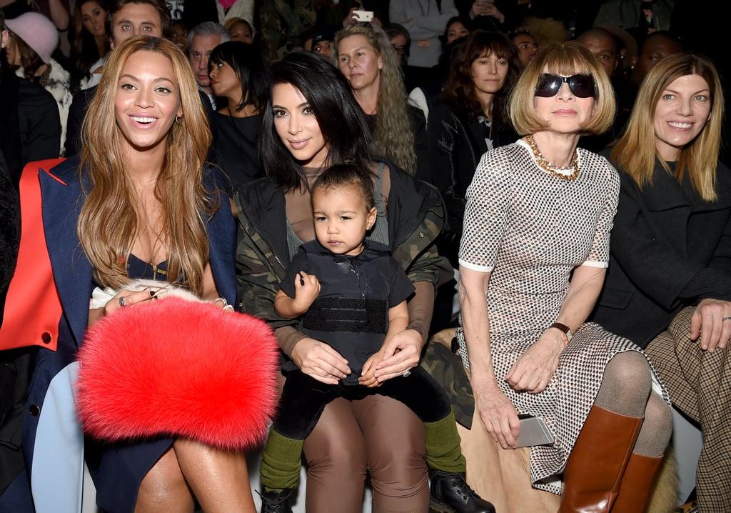 Beyoncé, Kim Kardashian, North West, and Anna Wintour at NYFW