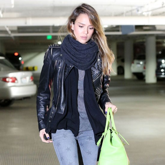 Jessica Alba Carrying a Neon Green Bag