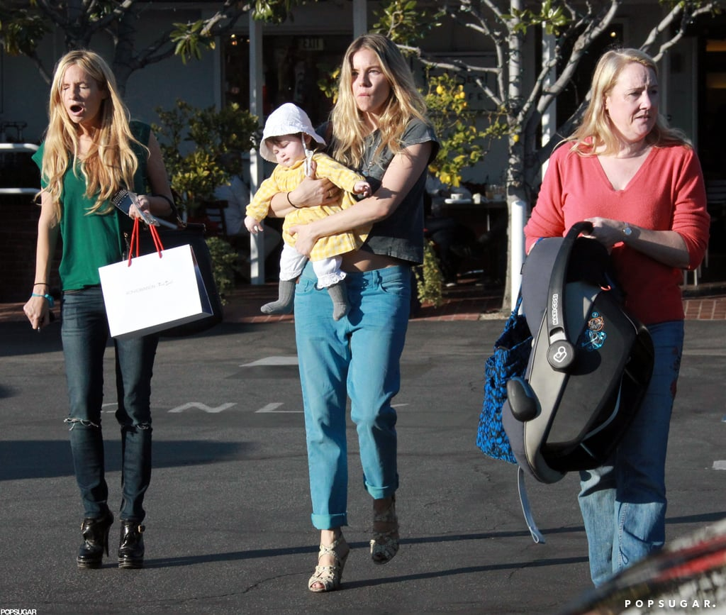Sienna Miller brought Marlowe along for lunch in LA with friends.