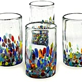 NOVICA Artisan Crafted Recycled Hand Confetti Blown Glass Tumbler, Set of 6
