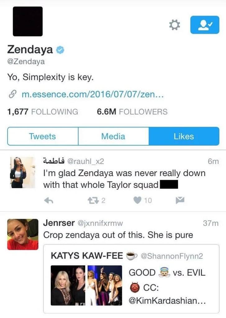 """9:48 p.m. — Zendaya """"Liked"""" a Few Tweets That Shaded Taylor"""