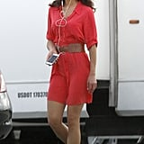 Jordana Brewster had her earbuds in as she left her New Orleans trailer on Thursday for North of Hell.