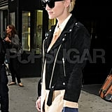 Ashlee Simpson wore a motorcycle jacket in NYC.